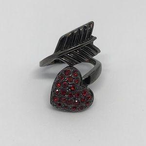 Betsey Johnson Red Rhinestones Arrow Heart Ring